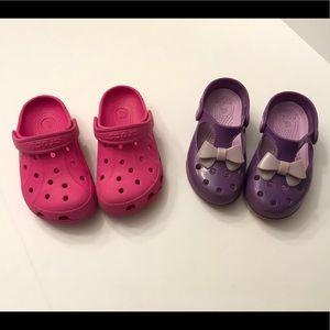2 Pairs Kids/Girls CROCS Shoes C10/11 MaryJanes